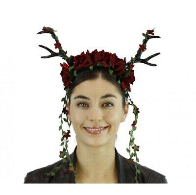 Halloween Red Deer (Black Deer Antlers Headband w Red Flowers Mystical Creature Animal  Horns)