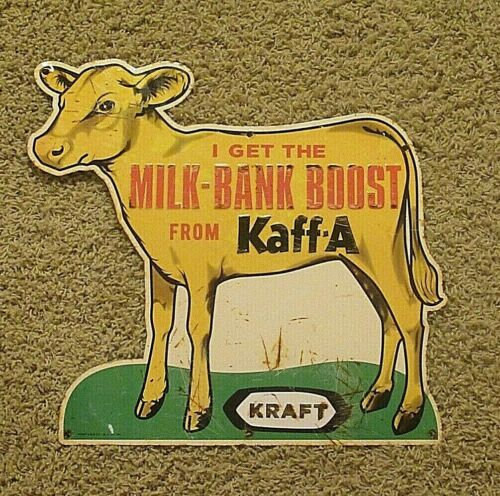 Kraft Milk Bank-Boost Calf Cow Steel Tin Embossed Advertising Sign - Stout Signs