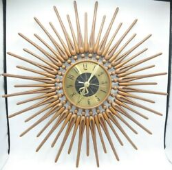 Mid-Century Modern Starburst Atomic Wall Clock Westclox Nocord Wood Sunburst 23