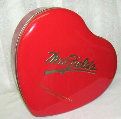 Mrs Fields Large Red Heart Tin Box Large Heart Tin