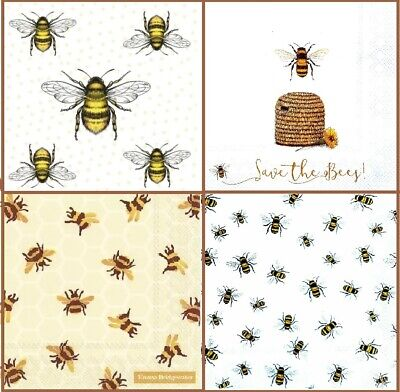 4 Different Vintage Table Paper Napkins for Party Lunch Decoupage Bee, Bees