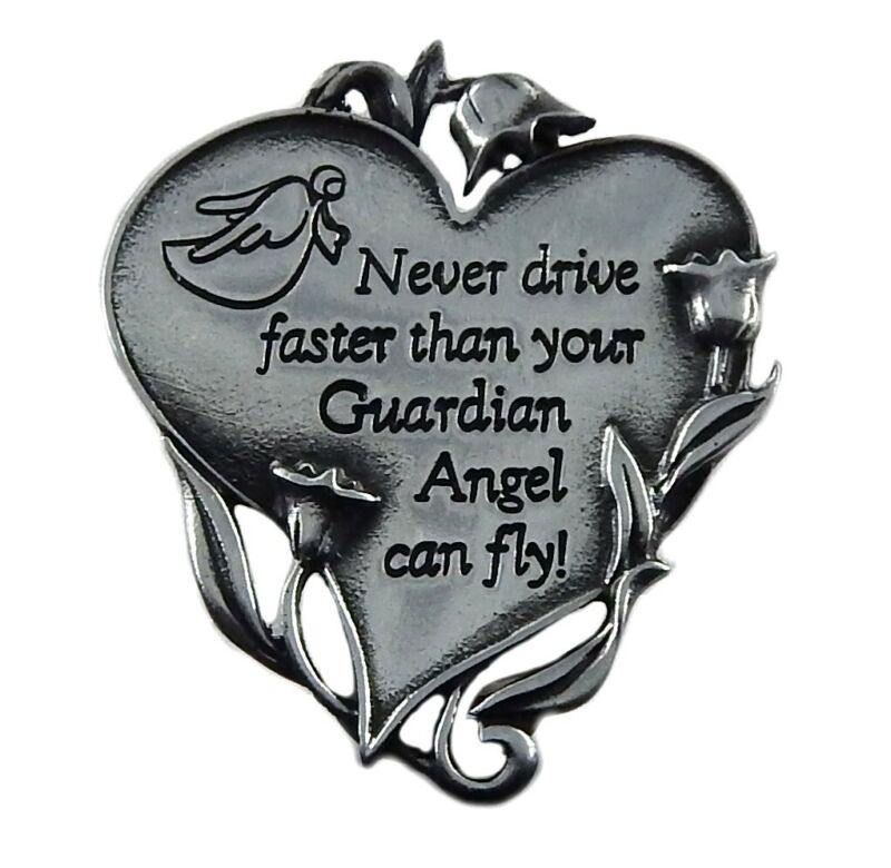 Never Drive Faster Than Your Guardian Angel Can Fly! Car Visor Clip