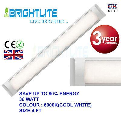 LED BATTEN SLIMLINE TUBE LIGHT WALL OR CEILING MOUNT 4 ft 1200 mm 36 WATT 6000K