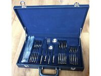 Suissine 24 piece stainless steel cutlery set with display case