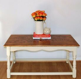 Coffee Table Annie Sloan Old Ochre - Sanded Top With Clear & Dark Wax