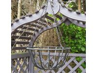 Hanging basket. Large, strong and ornamental. Black twisted steel bar construction. Ex. cond