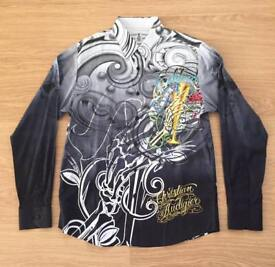 "Brand new Christian Audigier medium men's black ""Celebrate Life"" shirt. Decorated in rhinestones"
