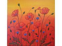 Poppy painting ( original acrylic painting).