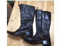 Black leather boots size 8 warn once. Reduced to £40