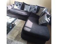 Black and grey 6 seater corner sofa