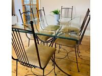 URGENT - Used 6 seater glass and brass dining table, very heavy