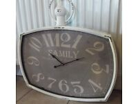 Large Family Clock Shabby chic distressed style Brand new boxed