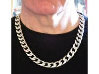 SOLID SILVER HALLMARKED GENTS HEAVY CURB CHAIN
