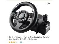 Steering Wheel Gearbox Pedals Vibrations PC PS2 PS3 USB