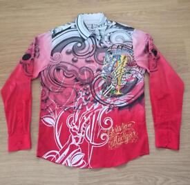 "Brand new Christian Audigier medium men's red ""Celebrate Life"" shirt. Decorated in rhinestones"