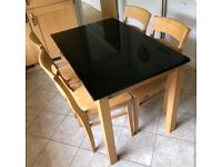 Rubber-wood Granite Top Table & 4 Chairs FREE DELIVERY 362
