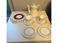 China coffee pot plus. 2 trios, and sandwich plate