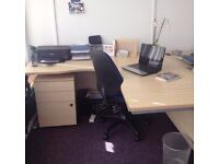 Light Oak Curved Executive Cantilever Office Desk x4 available