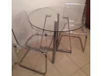 GLASS DINING TABLE with 2 x chairs - very good condition