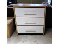 White and Wood Colour Chest of Drawers