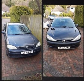 *bargains* Vauxhall Astra AND Peugeot 206 - Both Black 5 Door **FOR SALE** price and details below