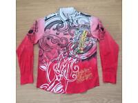 "Brand new Christian Audigier medium men's red ""Celebrate Life"" shirt. Decorated in rhinestones"