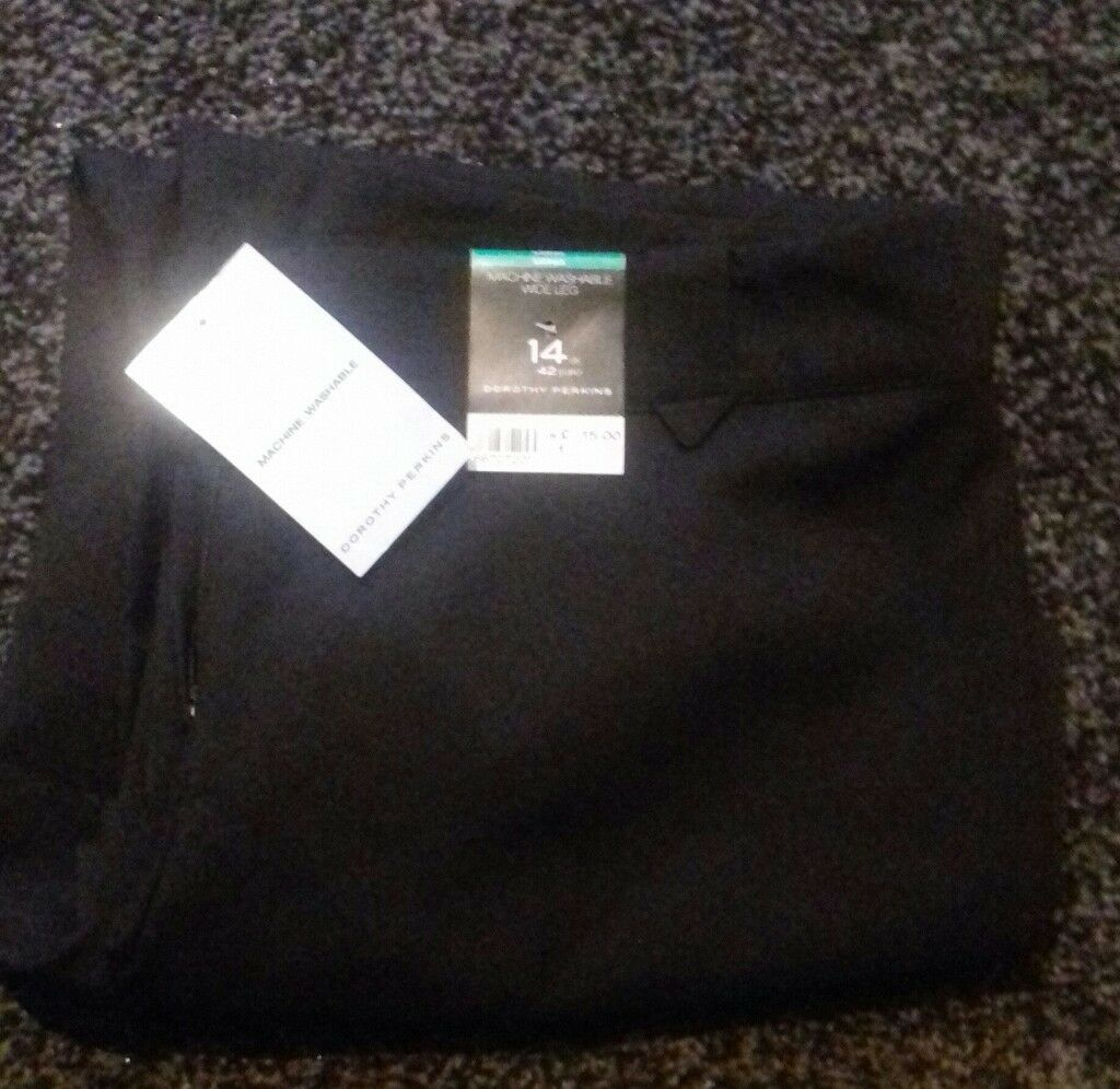 BNWT Black dorothy perkins trousers - size 14 , leg length long