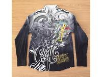 "Brand new Christian Audigier medium men's black ""Celebrate Life"" shirt. Decorated in rhinestones"