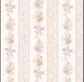 BHF 992-68302 Lorelai Floral Stripe Wallpaper - Taupe