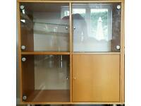 Ikea beech and glass cube cabinet