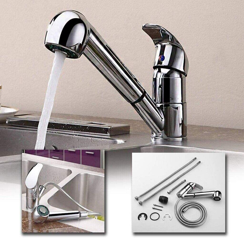 Edelstahl Wasserhahn Küche ausziehbar Küchenarmatur Brause Spültischarmatur DHL