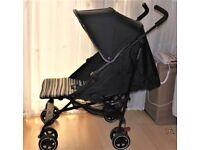 mothercare nanu stroller pram,black + grey ,striped seat +uni raincover all in good clean condition