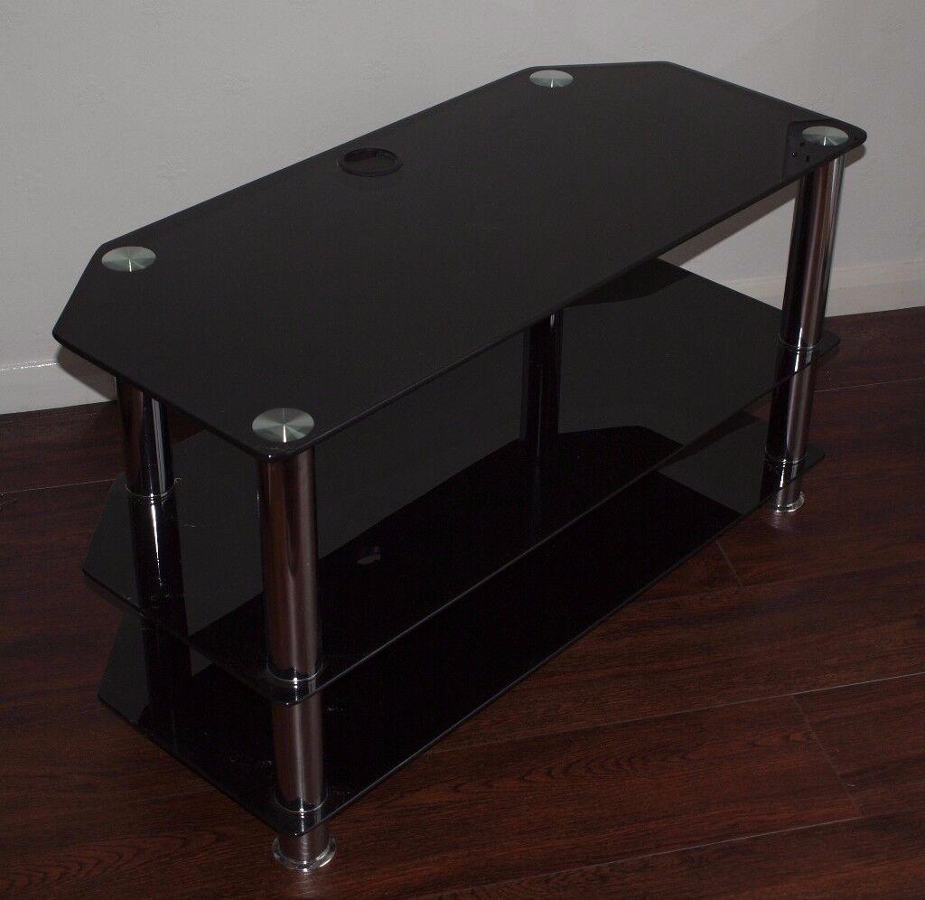 TV/Hi Fi Unit Black Glass 3 tier
