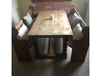 Solid kitchen table with pews