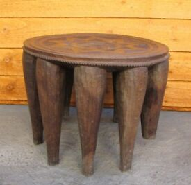 Rare Carved milking stool hand made unusual legs art and deco stool need TLC