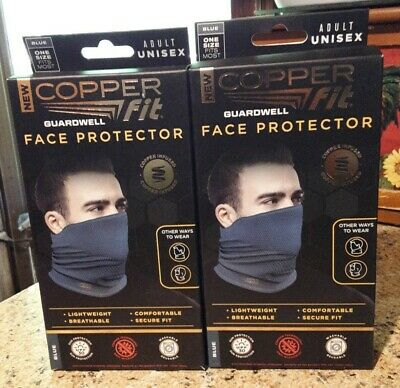 LOT OF 2-Copper Fit Guardwell Face Protector Mask Gaiter Adult .blue.