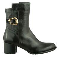 Mori Made In Italy Tobillo Heels Botas Botas Botas Zapatos Piel En Negro 38 -  - ebay.es