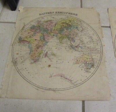 1877 Eastern Hemisphere Antique Original Color Map 14X17 Africa Asia Australia
