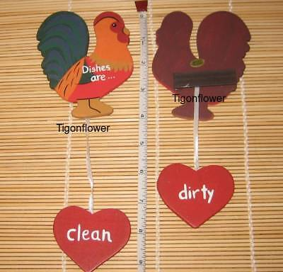 Country Wood Cut Out Sign Dishwasher ROOSTER Dishes Dirty Clean Buy 2 get 1 FREE