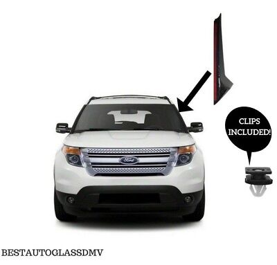 11-19 Ford Explorer Windshield Molding Outer Trim Pillar Driver Side With Clips