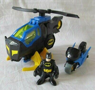 IMAGINEXT DC SUPER FRIENDS BATMAN BATCOPTER HELICOPTER & MOTORCYCLE w/FIGURE