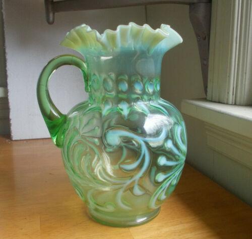 GREEN HAND BLOWN GLASS FENTON RUFFLED PITCHER WITH WHITE OPALESCENT FERN DESIGN