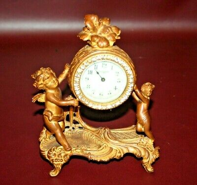 Vintage New Haven Brass Desktop Mantel Clock on Cherub Base - As-Is Not Working