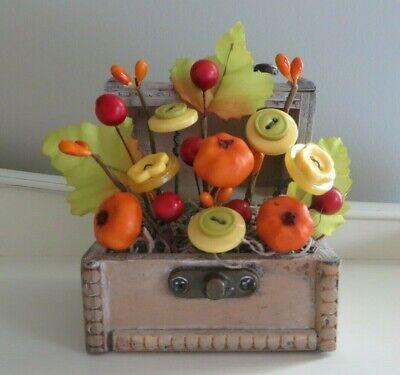 Button Flower Bouquet in MINI Chest -  Fall Autumn Home Decor - #299F