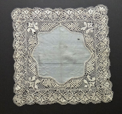 "Antique MALTESE Bobbin LACE Silk HANKY 14x14"" Heirloom, Intricate Hand Made FINE"
