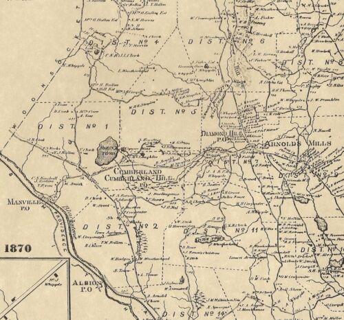 Cumberland Blackstone Valley Falls RI 1870 Maps with Homeowners Names Shown