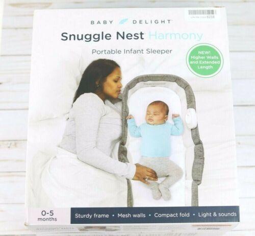 Baby Delight Snuggle Nest Harmony Portable Infant Sleeper | Charcoal Tweed