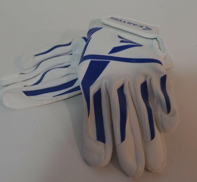 Easton batting Gloves EUC Womens Size Medium Softball White & Blue