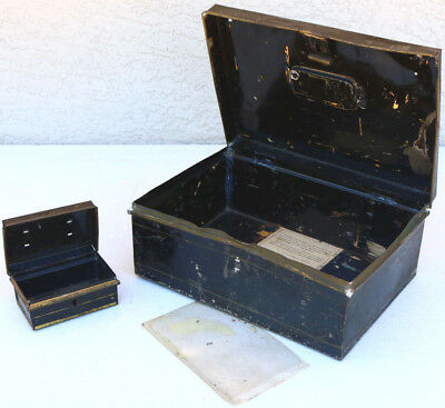 PAIR Old metal box Film Patina Money Box No Key Steam Cosplay Vintage Props
