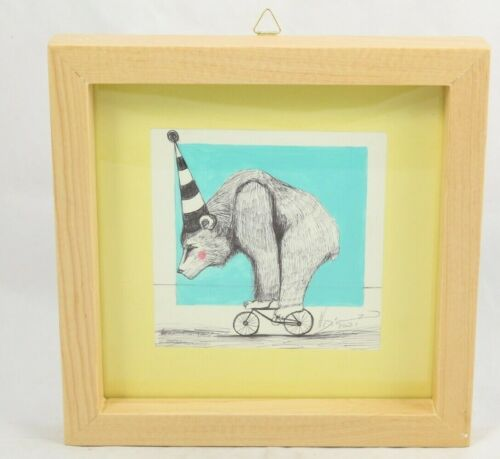 Mexican Acrylic Fine Art Painting Signed Décor Frame Hermes Diaz Bear/Tiny Bike